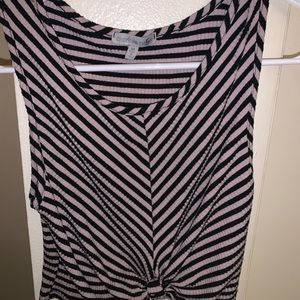 Striped Charlotte Russe Cropped Tank w Tiefront